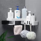 Cremagliera del bagno Cremagliera di stoccaggio di punzonatura libera di plastica Scaffale triangolare autoadesivo autoadesivo a parete