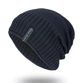 Herre Solid Strikket Plus Velvet Warm Skullies Beanie Cap