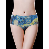 Full Hip Mid Waist Ice Silk Printing Soft Briefs