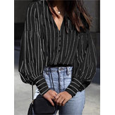 Stripe V-Neck Long Sleeve Casual Blouse with Button