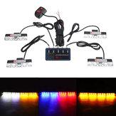 16W 4-w-1 16 LED Strobe Lights Zderzak Grille Lampka ostrzegawcza z przełącznikiem trybu kontrolera