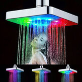 Automatic Square Shower Head Home Bathroom Rainfall Polished 7 Colors Auto Changing LED Light
