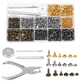 480Pcs Double Cap Rivet Tool Kit Goujons en métal Sac à chapeau en cuir Vêtements Craft