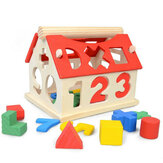 Wooden Digital House Detachable Digital Shape Matching Blocks House Kid's Child's Early Educational Toys