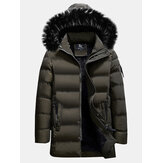 Warm Cotton Padded Jacket Furry Hood Insulated Winter Parka