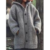 O botão com capuz da cor sólida engrossa os casacos de malha com bolsos