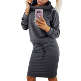 Long Sleeve Turtleneck Solid Sweatshirt Solid Color Bodycon Midi Dress