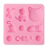 3D Kedi Çikolata Şekerleme Jelly Fondan Kek Parçalar Silikon Kalıp Pişirme Pan Bakeware Kalıp