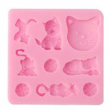 3D Katze Chocolate Candy Jelly Fondant Kuchenwerkzeug Silikonform Backform Backform