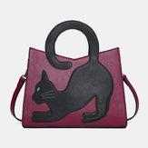 Kvindemode sød kattemønster patchwork-taske