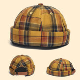 Huisbaas Pet Dome Pet Innocent Plaid Sailor Cap Street Trends Melon Stripe Brimless Hats Skull Cap