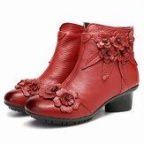 Женская Винтаж Кожаная лодыжка ручной работы из цветов Ботинки
