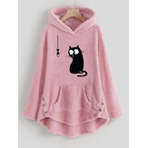 Women Cartoon Cat Side Button Hooded Fleece Sweatshirt
