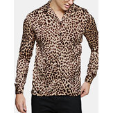 Men's Casual Leopard Printing Long Sleeve Shirts
