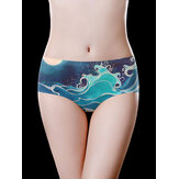 Low Waist Ice Silk Seamless Printed Breathable Briefs