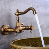European Type Pure Copper Double Handle Cold Heat Enters Wall Type Faucet Rotate 360 Kitchen