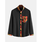 Mens Ethnic Style Pattern Pocket Long Sleeve Casual Shirts
