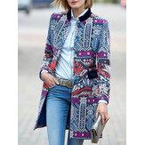 Women Vintage Printed Folk Style Long Sleeve Coats