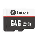 BIAZE 64GB / 128GB / 256GB Tarjeta de memoria Tarjeta TF de alta velocidad Almacenamiento de datos Tarjeta Micro SD para la grabadora de conducción de automóviles Seguridad Monitor Cámara 16G 32G