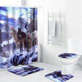1/3/4 Pcs Snow Wolf Impermeable Cortina de ducha Cuarto de baño Juego de alfombrillas para tapetes de inodoro antideslizante Kit de alfombra