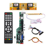 T.V53.03 Universal LCD LED TV Controller Driver Board TV/PC/VGA/HDMI/USB+7 Key Button+2ch 8bit 30 LVDS Cable+4 Lamp Inverter