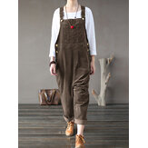 Corduroy Sleeveless Causal Side Pocket Jumpsuit