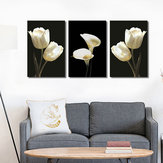 Original Miico Hand Painted Three Combination Decorative Paintings Botanic White Flower Wall Art For Home Decoration