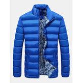 Mens inverno grosso gola casaco acolchoado cor sólida tamanho grande moda jaqueta casual