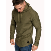 Mens Hooded Striped Fold Raglan Sleeve Sweatshirt