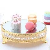 Modern Cake Dessert Stand Round Display Glass Mirror Gold Crystal Wedding Decor Supplies