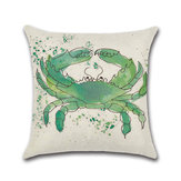 Sea Turtle Crab Whale Cotton Linen Cushion Cover Cartoon Color Water Printed Square Pillow Case