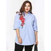 Casual Women Embroidery Stand Collar Stripe Long Sleeve Shirts
