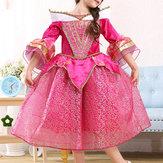 Gül Kırmızı Çocuk Kızları Yarım Kuşak Yazdırılmış Parti Prenses Elbise