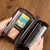 Hombres Oil Wax Leather vendimia Long Wallet Card Holder