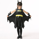 Halloween Kid Girls preto sem mangas morcego traje cosplay