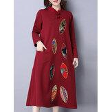 Mulheres étnicas de manga comprida de impressão vestido de patchwork pocket