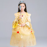 Niño Niñas manga de la manga O-cuello princesa de lujo Vestido