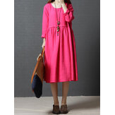 Loose Women à manches longues Pure Color O-Neck Robe Midi avec poches