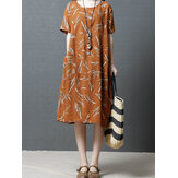 Vintage Women Printed Cotton Short Sleeve O-Neck Dress