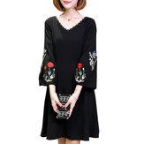 Mulheres elegantes A Line Dress Vestidos casuais de luva com lanterna bordada