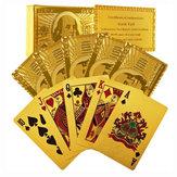 Certificado Puro 24 Quilate Cartões de Poker Banhados a Ouro Presente Perfeito