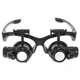 8 Lens 10x 15x 20x 25x Headbrand 2LED Magnifying Magnifying Loupe 9892G