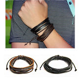 Mode Unisex Multilayer Leather Woven Braid Rope Bracelet