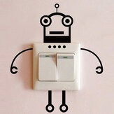 Black Robot Switch Sticker Sala de estar Quarto Wall Poster Home Decor