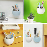 Wall Suction Soap Box Toothbrush Holder Bathroom Storage Organizer