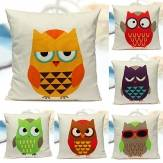 Cute Owls Throw Pillow Case Cushion Cover Soft Home Decor