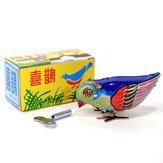 Старинные заводные птицы клюют жестяные механические игрушки