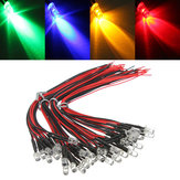 10pcs LED Lámpara Bombilla 20cm Precableado 5mm 12V DC Colorful Luz