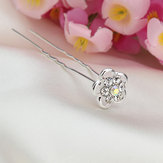 Bridal Wedding Hair Accessories Flower Rhinestone U clip Hairpin