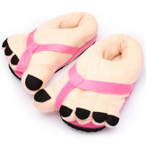 Vrouwen Novelty Big Toe Katoenen Home Slippers Lovers Indoor Shoes